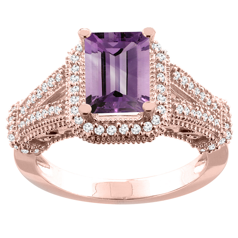 14K White/Yellow/Rose Gold Natural Amethyst Ring Octagon 8x6mm Diamond Accent, sizes 5-10