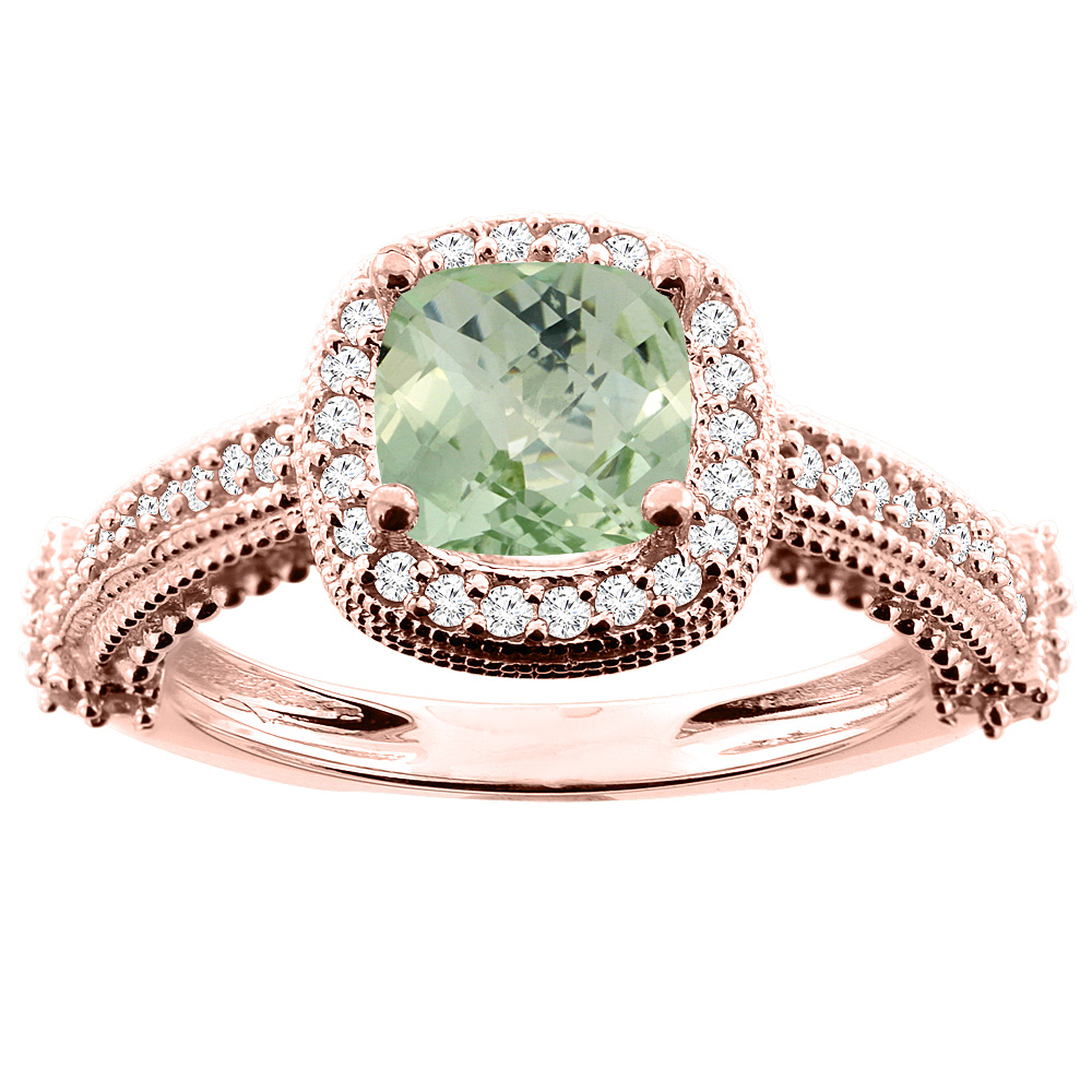 14K White/Yellow/Rose Gold Natural Green Amethyst Ring Cushion 7x7mm Diamond Accent 7/16 inch wide, size 5
