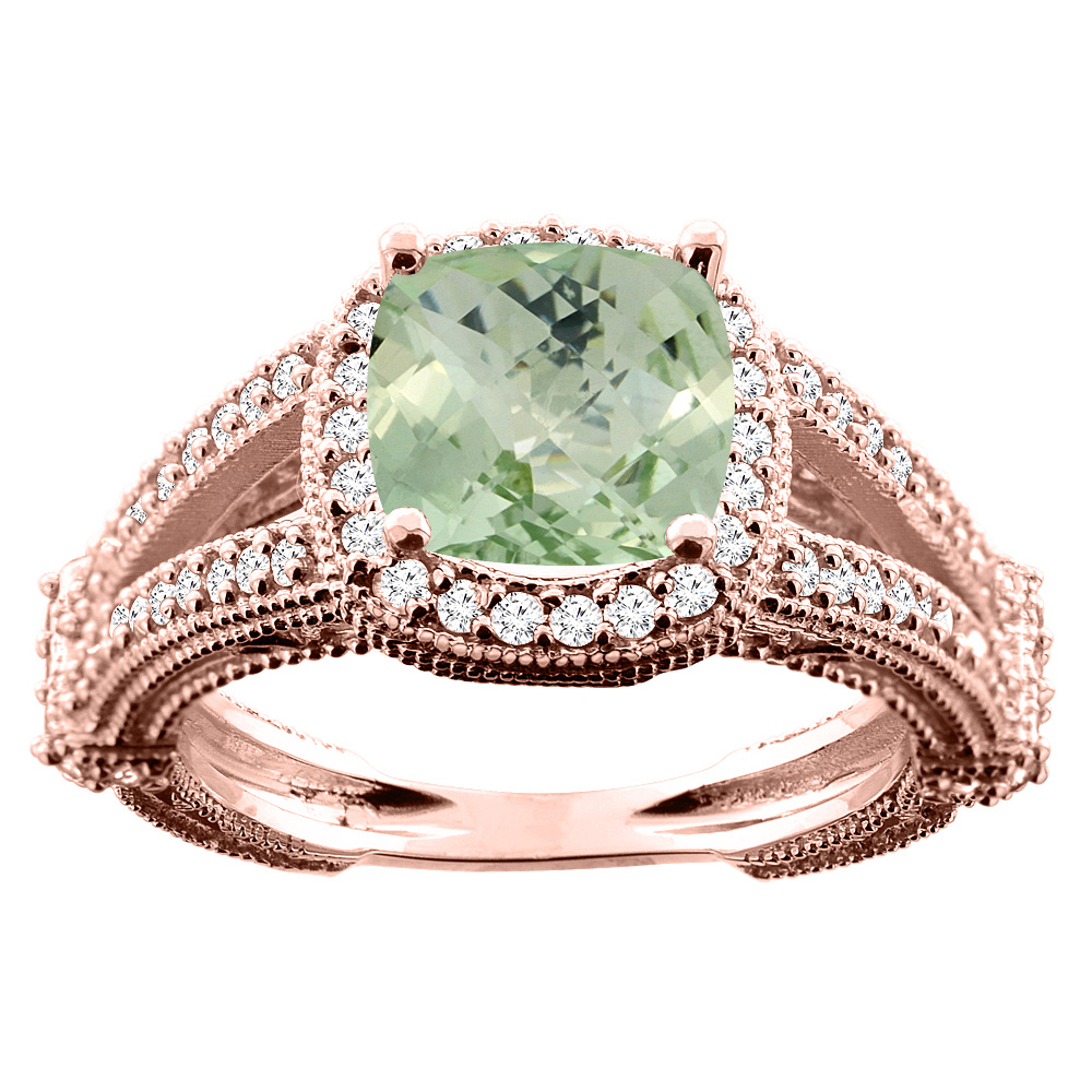 10K White/Yellow/Rose Gold Natural Green Amethyst Cushion 8x8mm Diamond Accent 3/8 inch wide, sizes 5 - 10