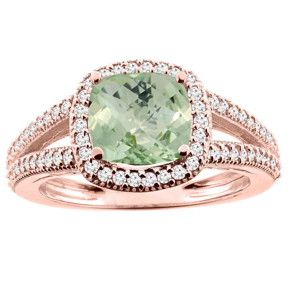 14K Rose Gold Natural Green Amethyst Ring Cushion 7x7mm Diamond Accent 3/8 inch wide, sizes 5 - 10