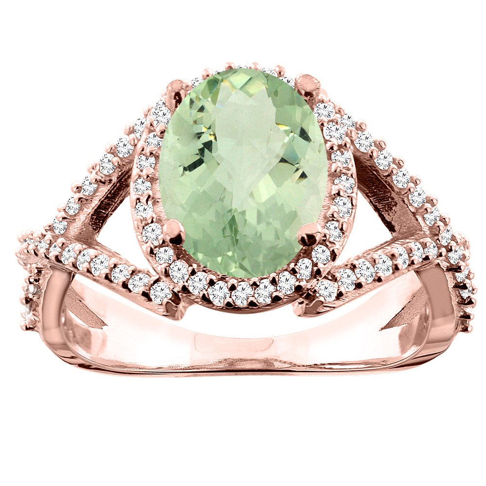 14K White/Yellow/Rose Gold Natural Green Amethyst Ring Oval 10x8mm Diamond Accent, sizes 5 - 10