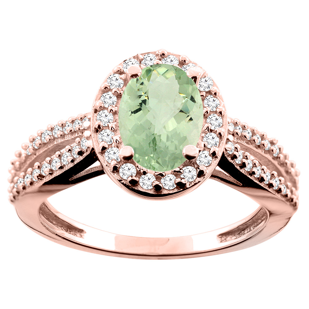 14K White/Yellow/Rose Gold Natural Green Amethyst Ring Oval 8x6mm Diamond Accent, size 5