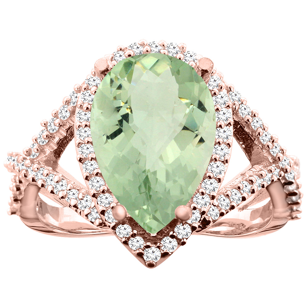 14K White/Yellow/Rose Gold Natural Green Amethyst Ring Pear 12X8mm Diamond Accent, size 5