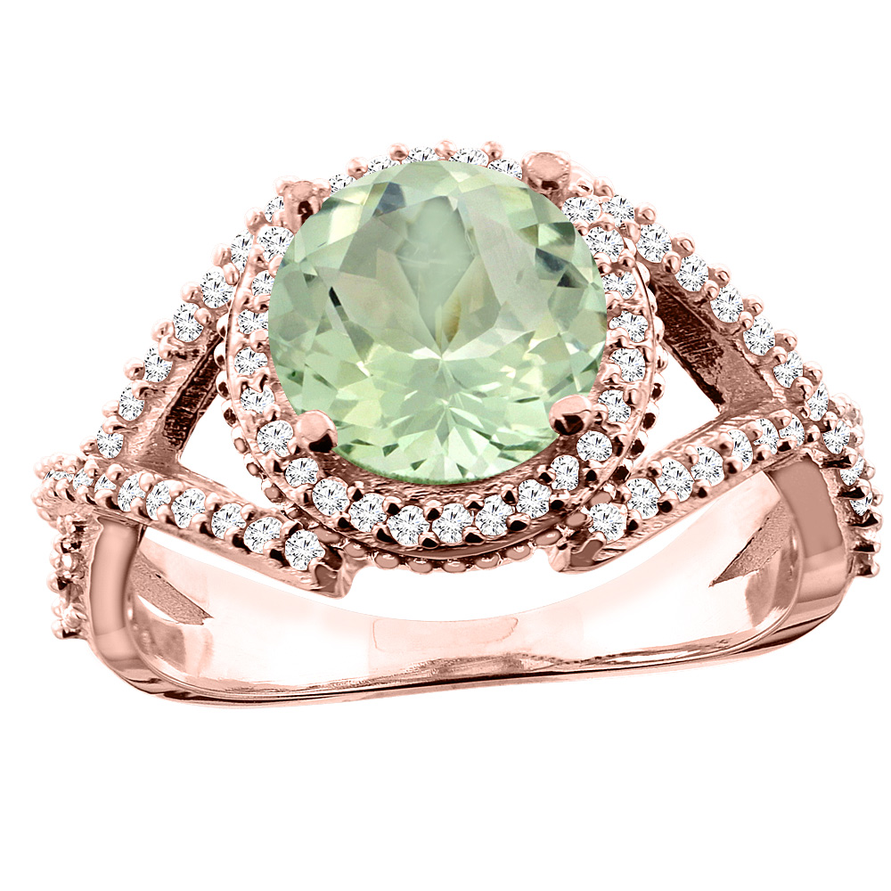 10K White/Yellow/Rose Gold Natural Green Amethyst Ring Round 8mm Diamond Accent, sizes 5 - 10