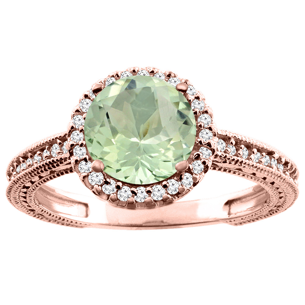 14K White/Yellow/Rose Gold Natural Green Amethyst Ring Round 7mm Diamond Accent, sizes 5 - 10