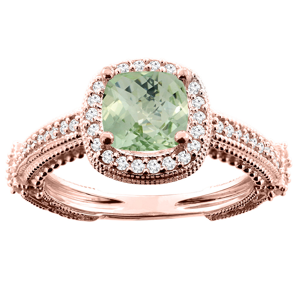 14K White/Yellow/Rose Gold Natural Green Amethyst Ring Cushion 7x7mm Diamond Accent, sizes 5 - 10