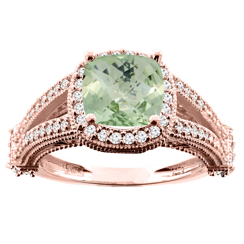 10K White/Yellow/Rose Gold Natural Green Amethyst Split Shank Ring Cushion 7x7mm Diamond Accent, sizes 5 - 10