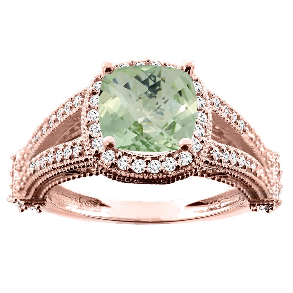 14K White/Yellow/Rose Gold Natural Green Amethyst Split Shank Ring Cushion 7x7mm Diamond Accent, sizes 5 - 10