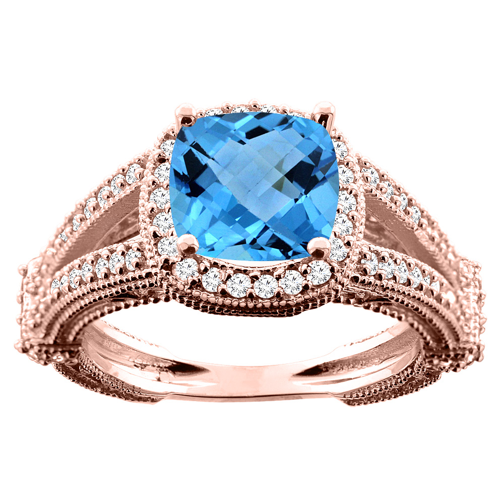 14K White/Yellow/Rose Gold Natural Swiss Blue Topaz Cushion 8x8mm Diamond Accent 3/8 inch wide, sizes 5 - 10
