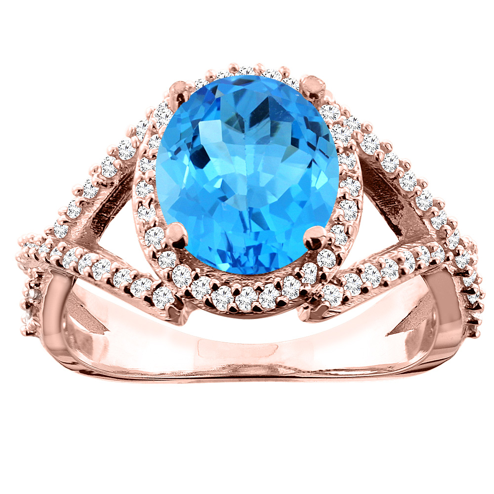 14K White/Yellow/Rose Gold Natural Swiss Blue Topaz Ring Oval 9x7mm Diamond Accent, size 5