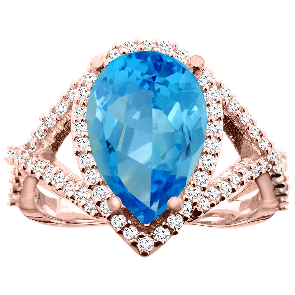 14K White/Yellow/Rose Gold Natural Swiss Blue Topaz Ring Pear 12X8mm Diamond Accent, size 5
