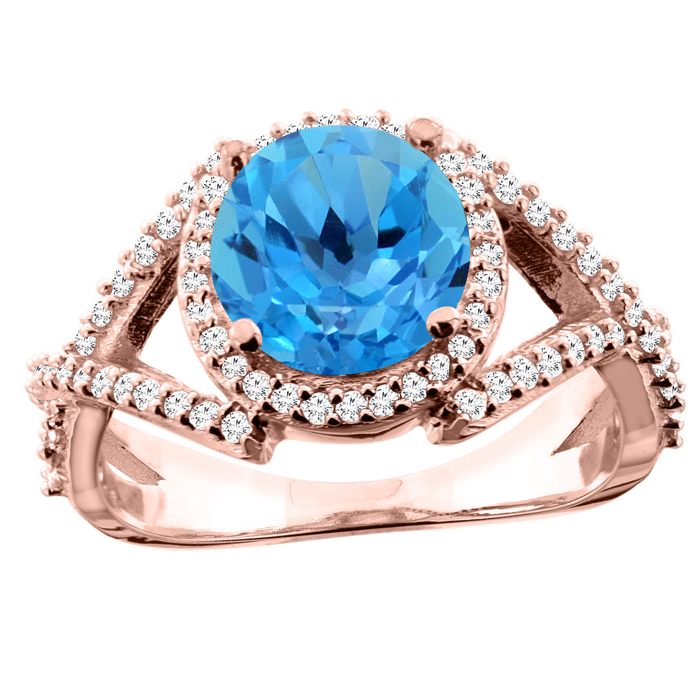 14K White/Yellow/Rose Gold Natural Swiss Blue Topaz Ring Round 8mm Diamond Accent, size 5