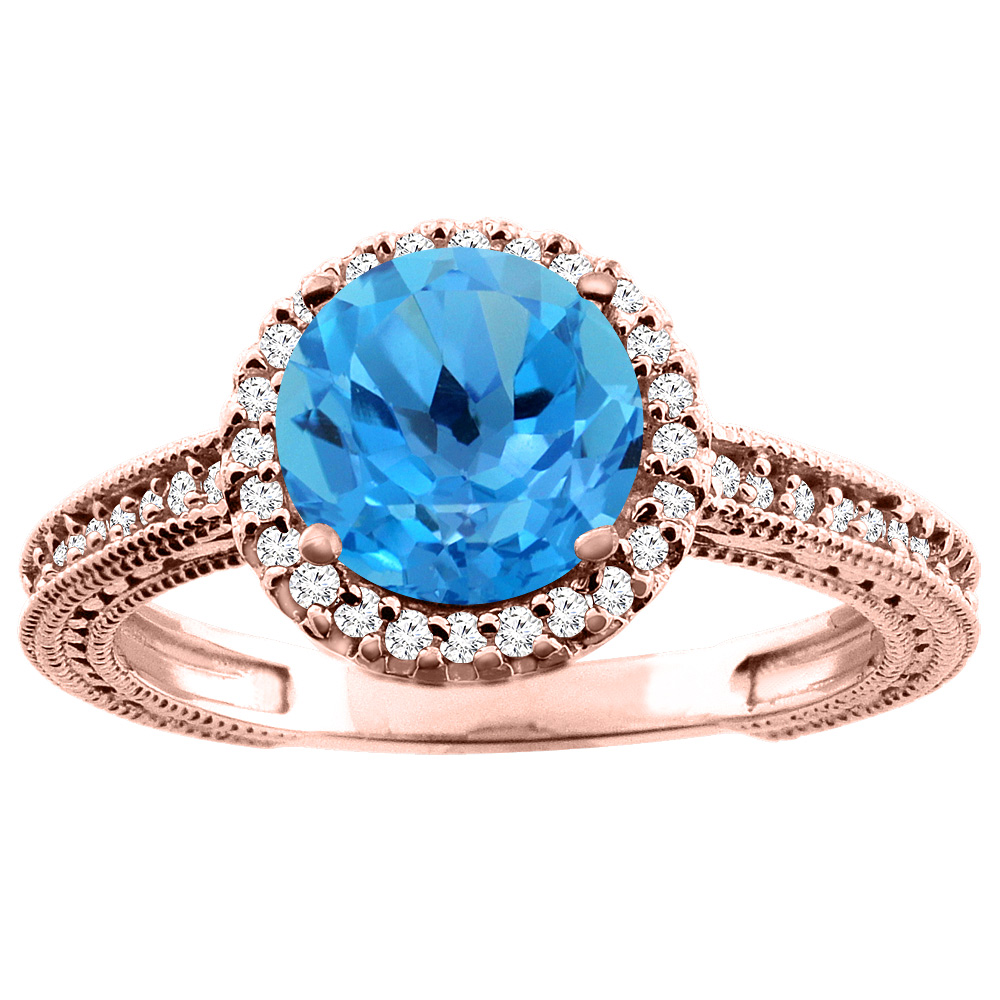 14K White/Yellow/Rose Gold Natural Swiss Blue Topaz Ring Round 7mm Diamond Accent, sizes 5 - 10