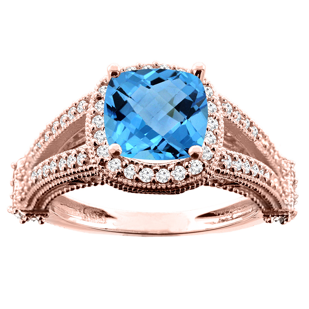 14K White/Yellow/Rose Gold Natural Swiss Blue Topaz Split Shank Ring Cushion 7x7mm Diamond Accent, sizes 5 - 10