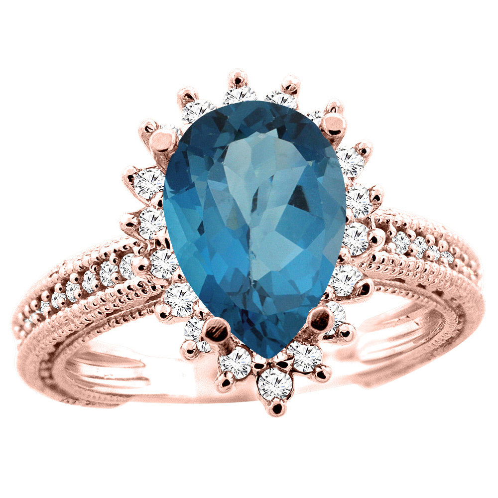 14K White/Yellow/Rose Gold Natural London Blue Topaz Ring Pear 12x8mm Diamond Accent, size 5