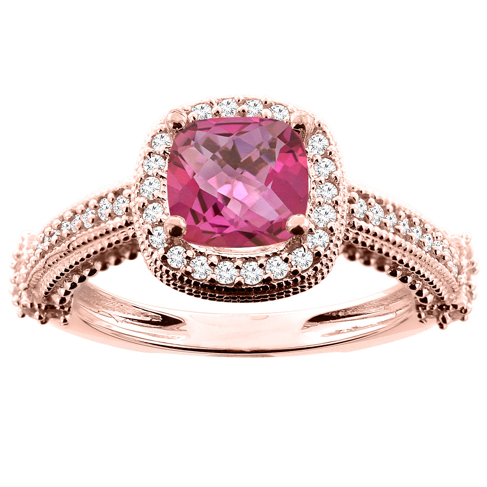 14K White/Yellow/Rose Gold Natural Pink Topaz Ring Cushion 7x7mm Diamond Accent 7/16 inch wide, size 5