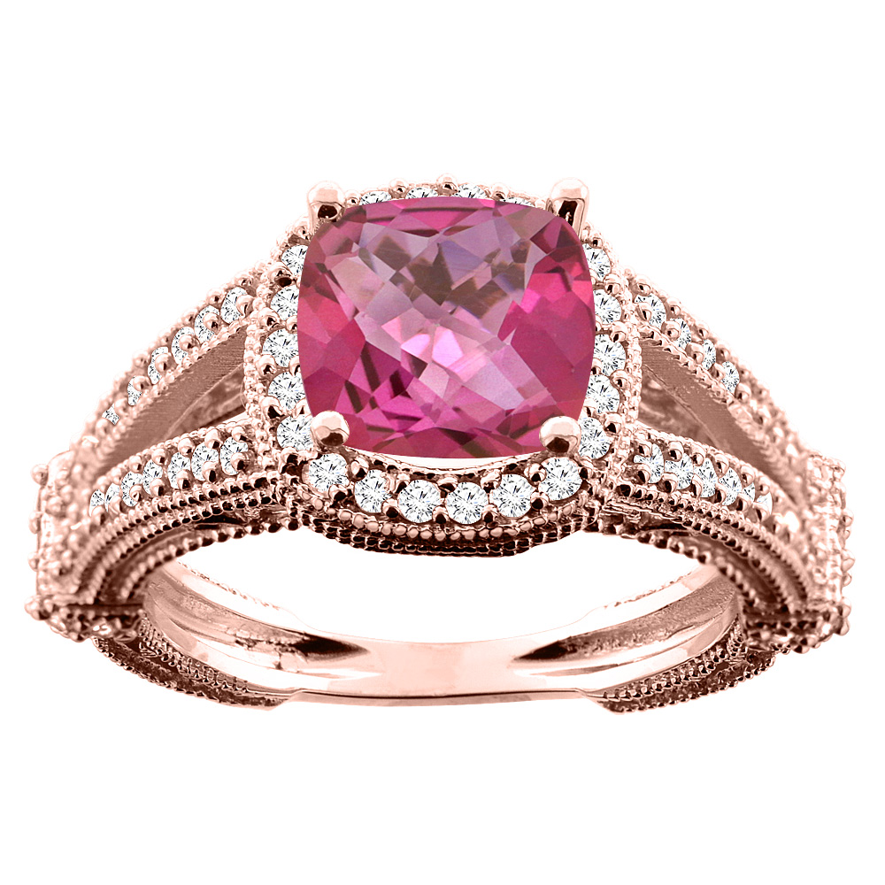14K White/Yellow/Rose Gold Natural Pink Topaz Cushion 8x8mm Diamond Accent 3/8 inch wide, size 5