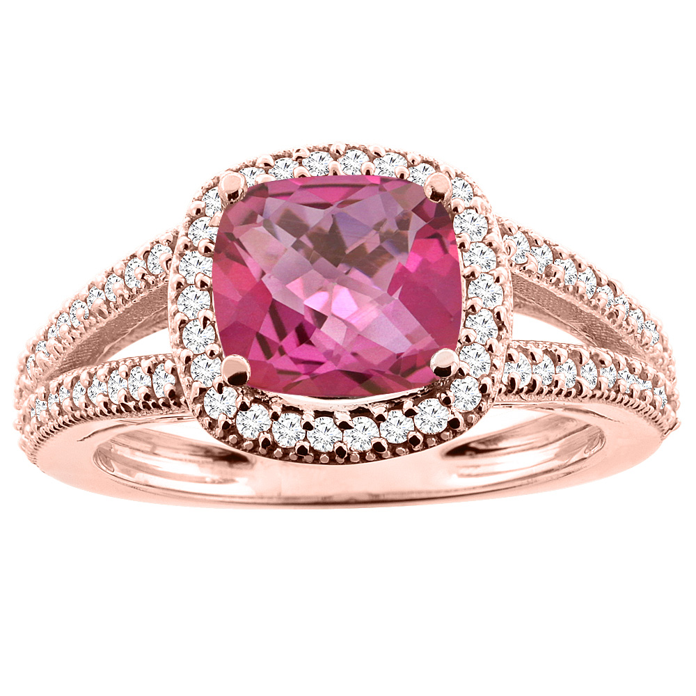 14K Rose Gold Natural Pink Topaz Ring Cushion 7x7mm Diamond Accent 3/8 inch wide, sizes 5 - 10