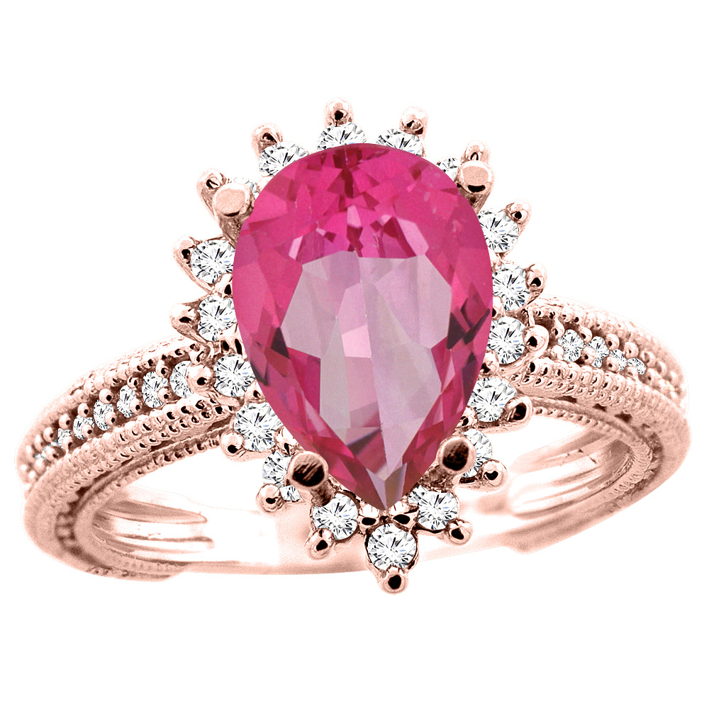 14K White/Yellow/Rose Gold Natural Pink Topaz Ring Pear 12x8mm Diamond Accent, size 5