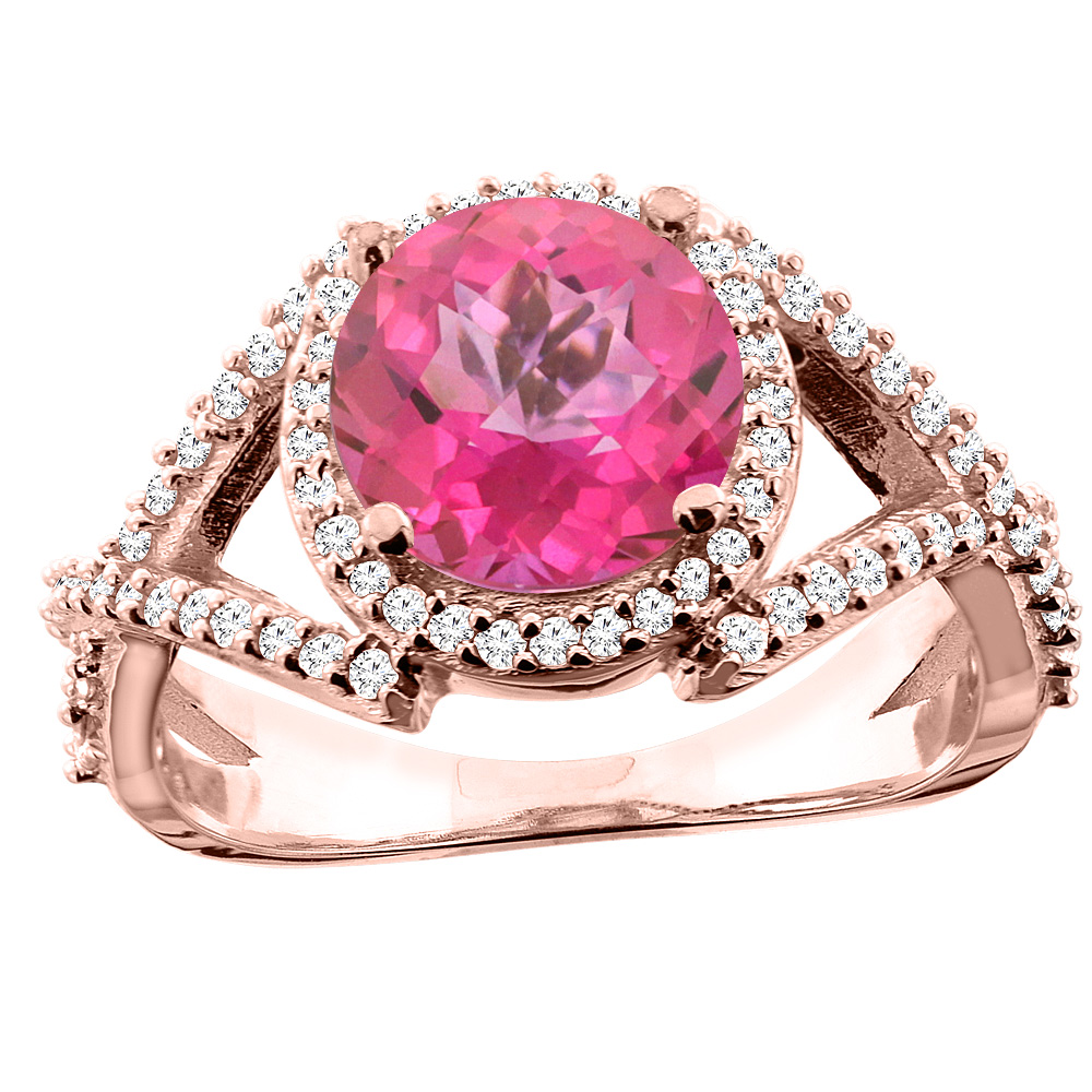 14K White/Yellow/Rose Gold Natural Pink Topaz Ring Round 8mm Diamond Accent, size 5