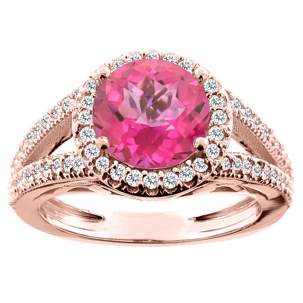 10K White/Yellow/Rose Gold Natural Pink Topaz Ring Round 8mm Diamond Accent, sizes 5 - 10