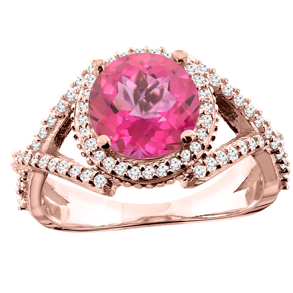 14K White/Yellow/Rose Gold Natural Pink Topaz Ring Round 8mm Diamond Accent, sizes 5 - 10