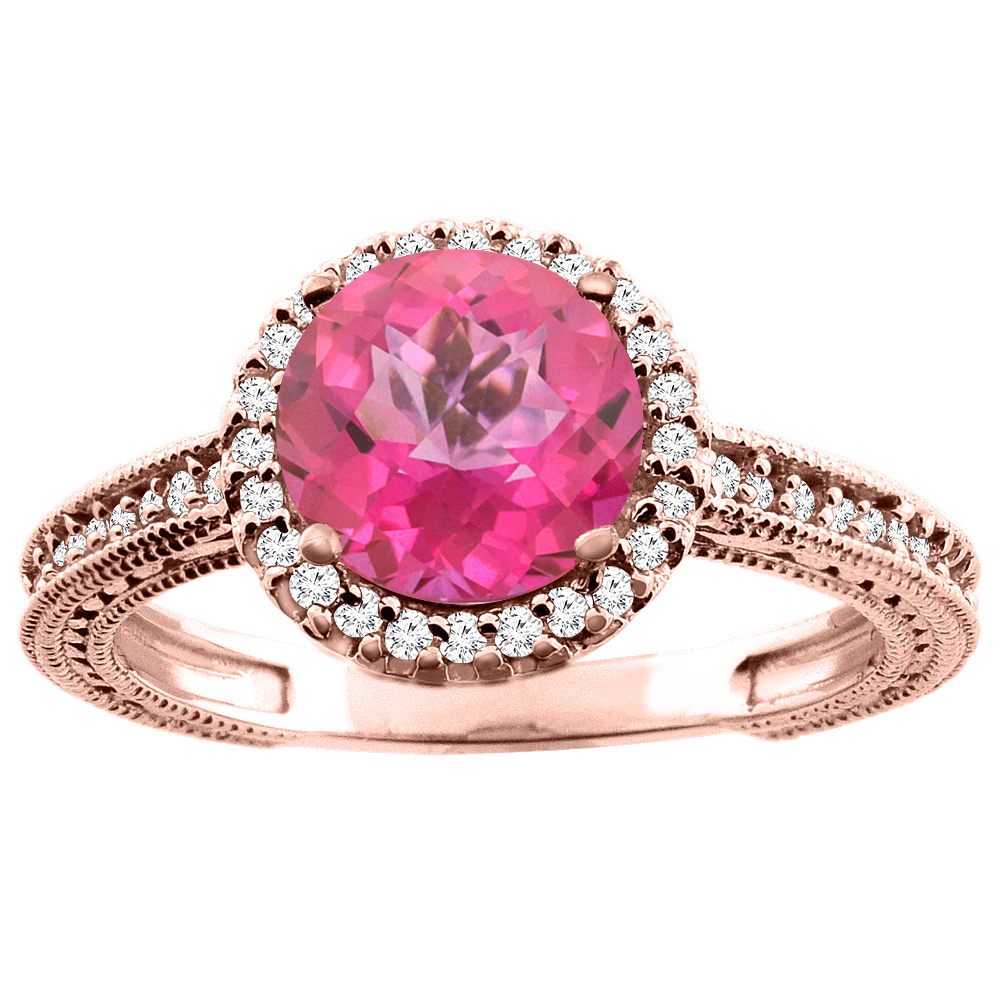 14K White/Yellow/Rose Gold Natural Pink Topaz Ring Round 7mm Diamond Accent, sizes 5 - 10