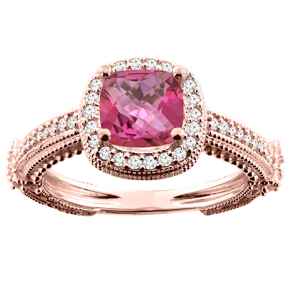 14K White/Yellow/Rose Gold Natural Pink Topaz Ring Cushion 7x7mm Diamond Accent, sizes 5 - 10