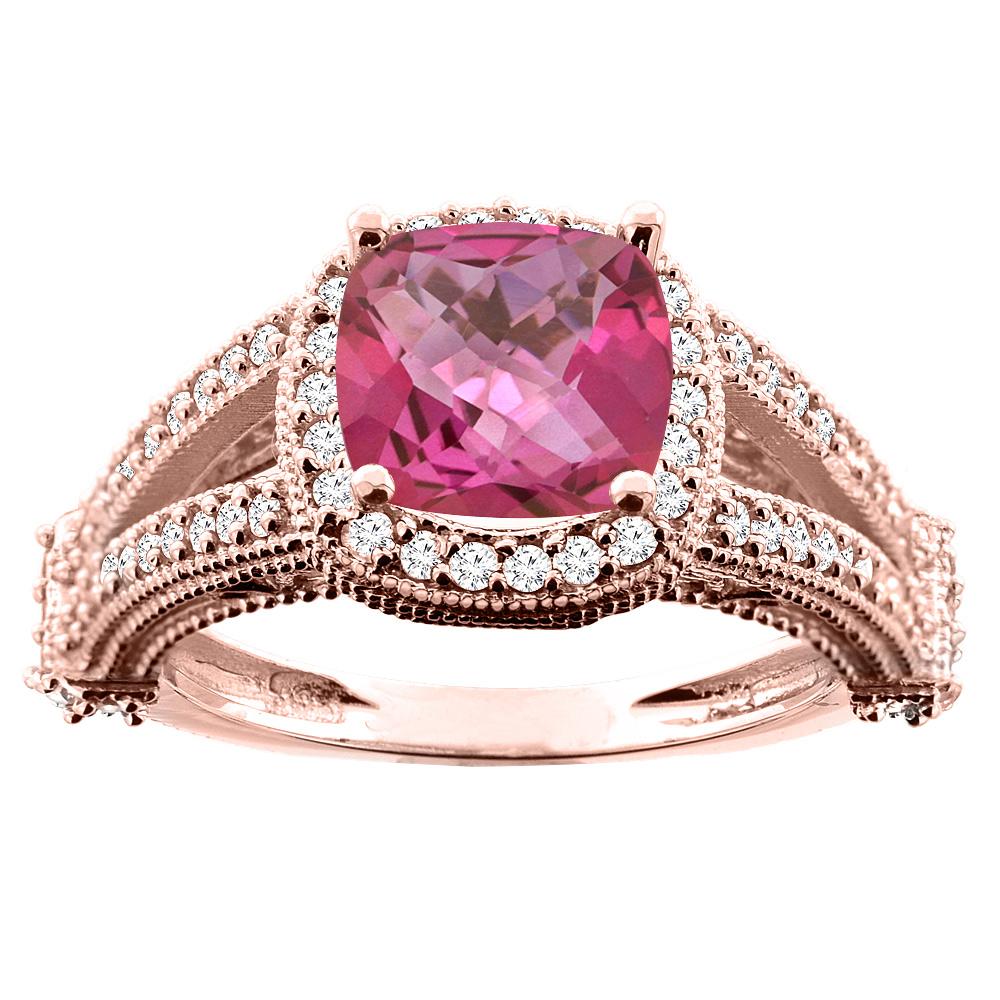 14K White/Yellow/Rose Gold Natural Pink Topaz Split Shank Ring Cushion 7x7mm Diamond Accent, sizes 5 - 10