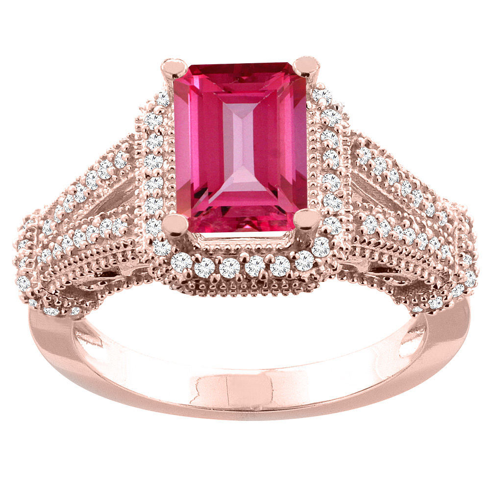 14K White/Yellow/Rose Gold Natural Pink Topaz Ring Octagon 8x6mm Diamond Accent, sizes 5-10