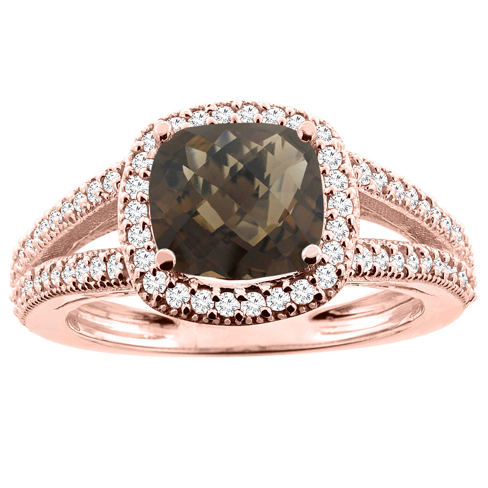 14K Rose Gold Natural Smoky Topaz Ring Cushion 7x7mm Diamond Accent 3/8 inch wide, sizes 5 - 10