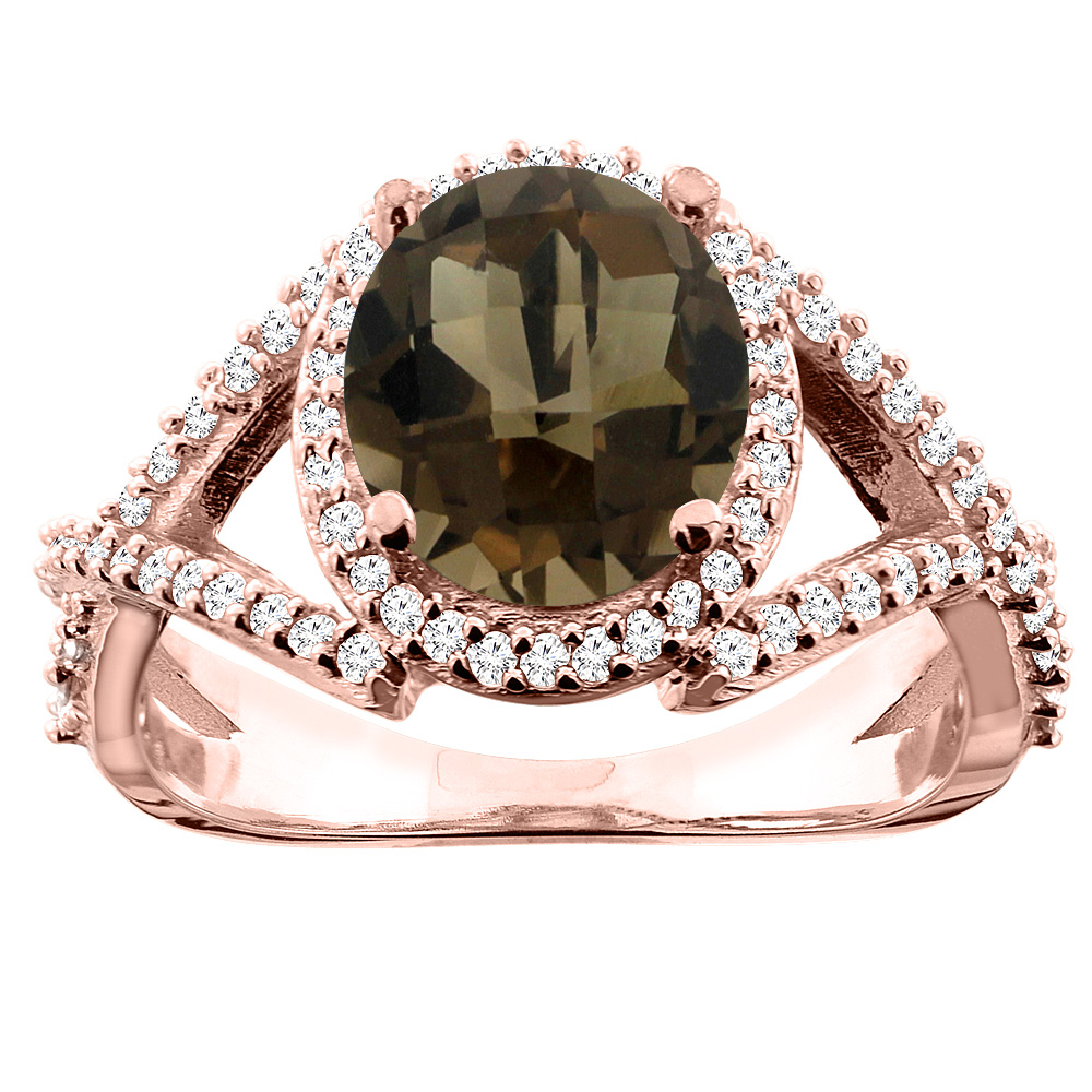 14K White/Yellow/Rose Gold Natural Smoky Topaz Ring Oval 9x7mm Diamond Accent, size 5