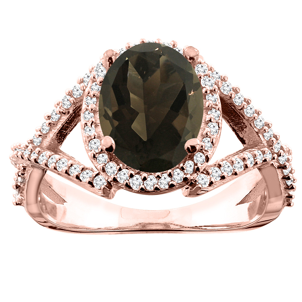 14K White/Yellow/Rose Gold Natural Smoky Topaz Ring Oval 10x8mm Diamond Accent, sizes 5 - 10