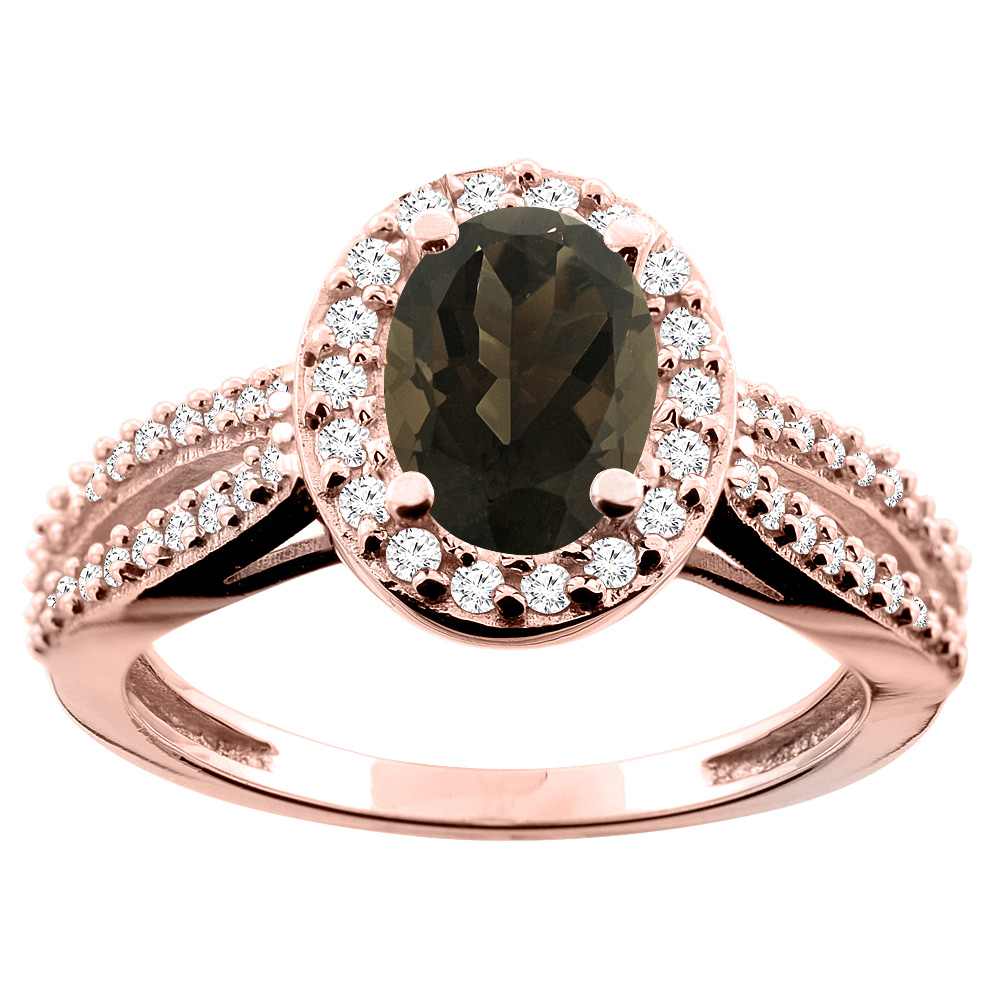 14K White/Yellow/Rose Gold Natural Smoky Topaz Ring Oval 8x6mm Diamond Accent, size 5