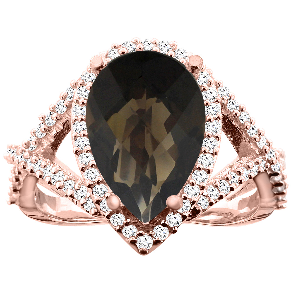 14K White/Yellow/Rose Gold Natural Smoky Topaz Ring Pear 12X8mm Diamond Accent, size 5