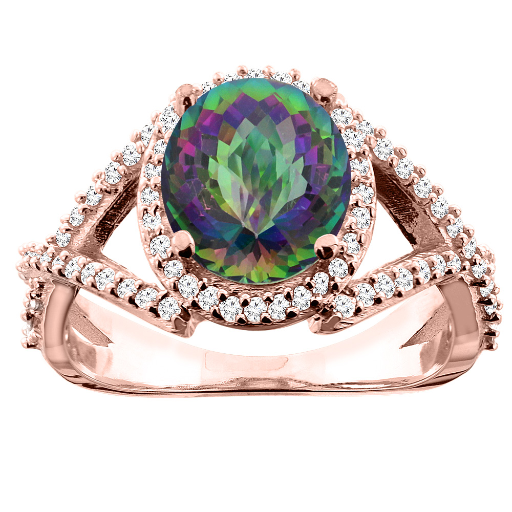 14K White/Yellow/Rose Gold Natural Mystic Topaz Ring Oval 9x7mm Diamond Accent, size 5