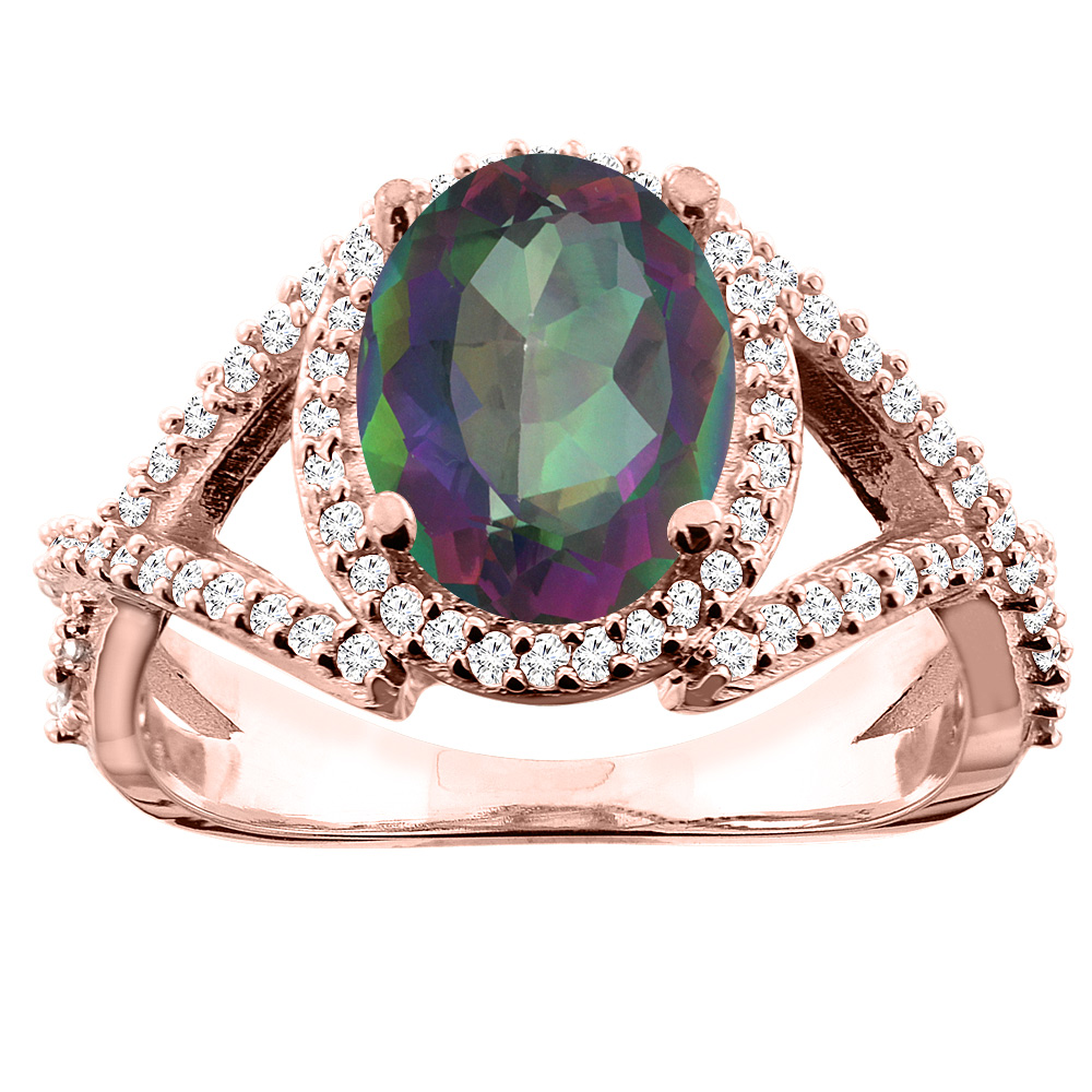 14K White/Yellow/Rose Gold Natural Mystic Topaz Ring Oval 10x8mm Diamond Accent, sizes 5 - 10