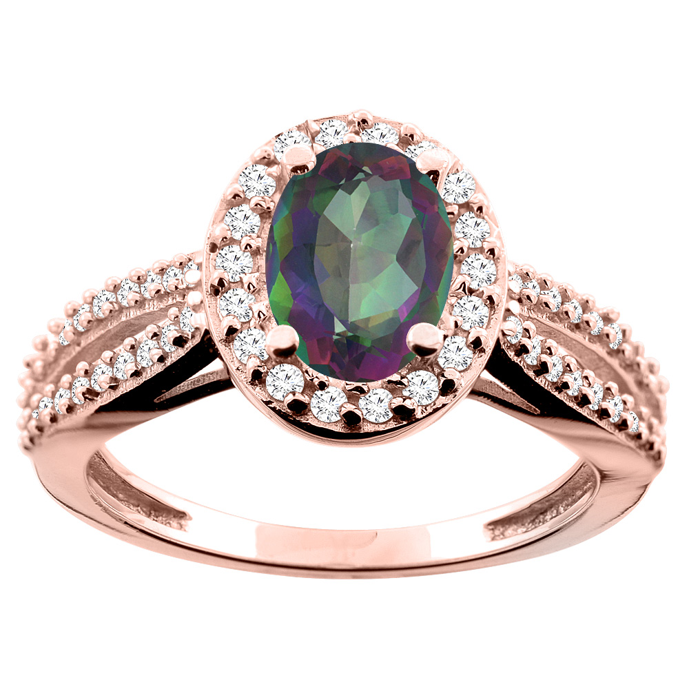 14K White/Yellow/Rose Gold Natural Mystic Topaz Ring Oval 8x6mm Diamond Accent, size 5