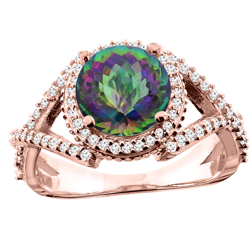 14K White/Yellow/Rose Gold Natural Mystic Topaz Ring Round 8mm Diamond Accent, sizes 5 - 10