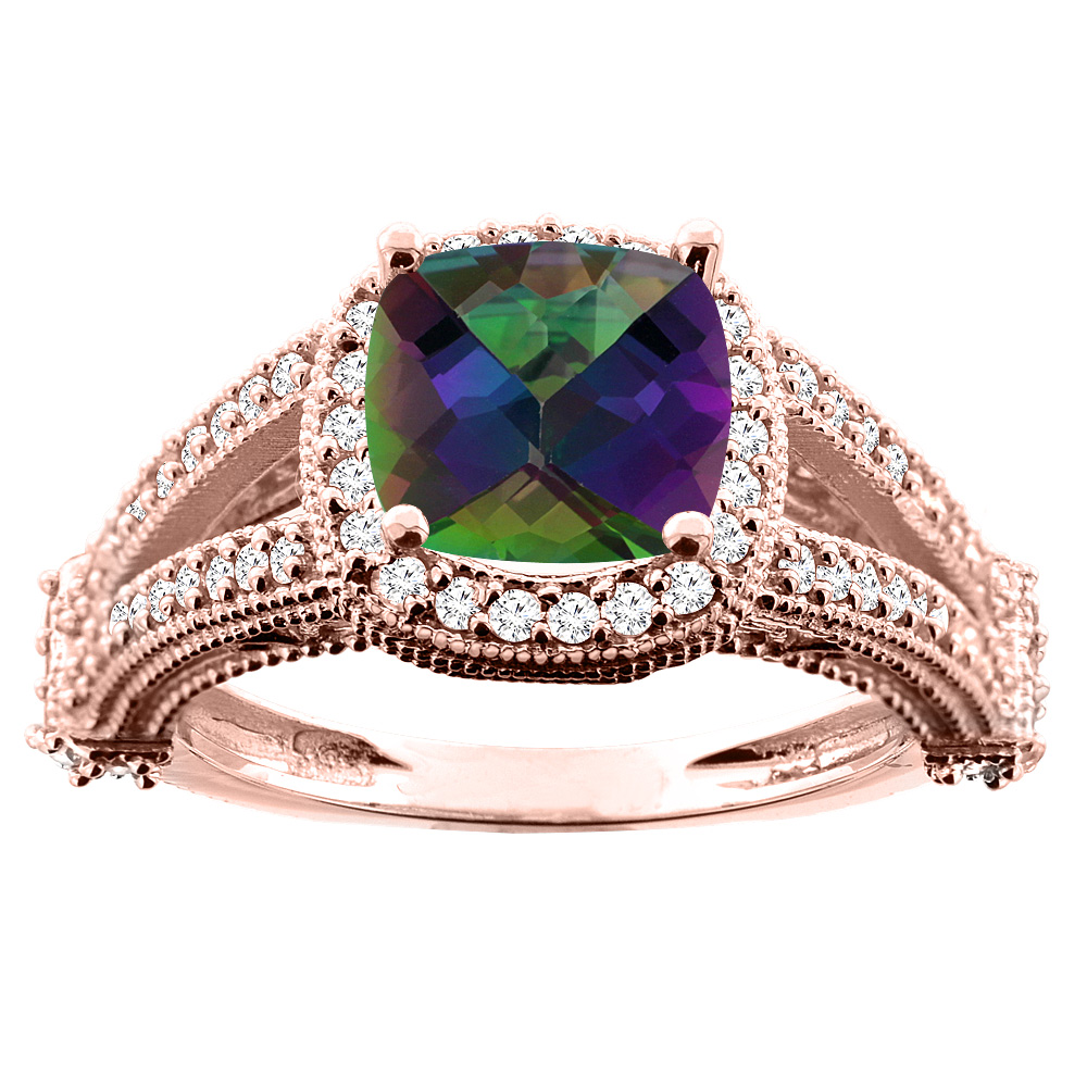 14K White/Yellow/Rose Gold Natural Mystic Topaz Split Shank Ring Cushion 7x7mm Diamond Accent, sizes 5 - 10