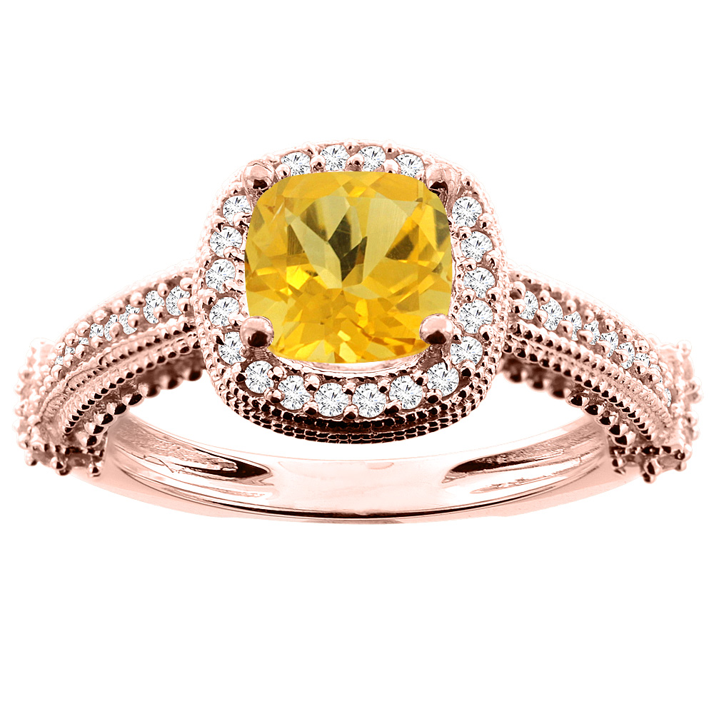 14K White/Yellow/Rose Gold Natural Citrine Ring Cushion 7x7mm Diamond Accent 7/16 inch wide, size 5