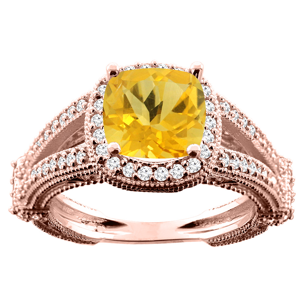 14K White/Yellow/Rose Gold Natural Citrine Cushion 8x8mm Diamond Accent 3/8 inch wide, size 5