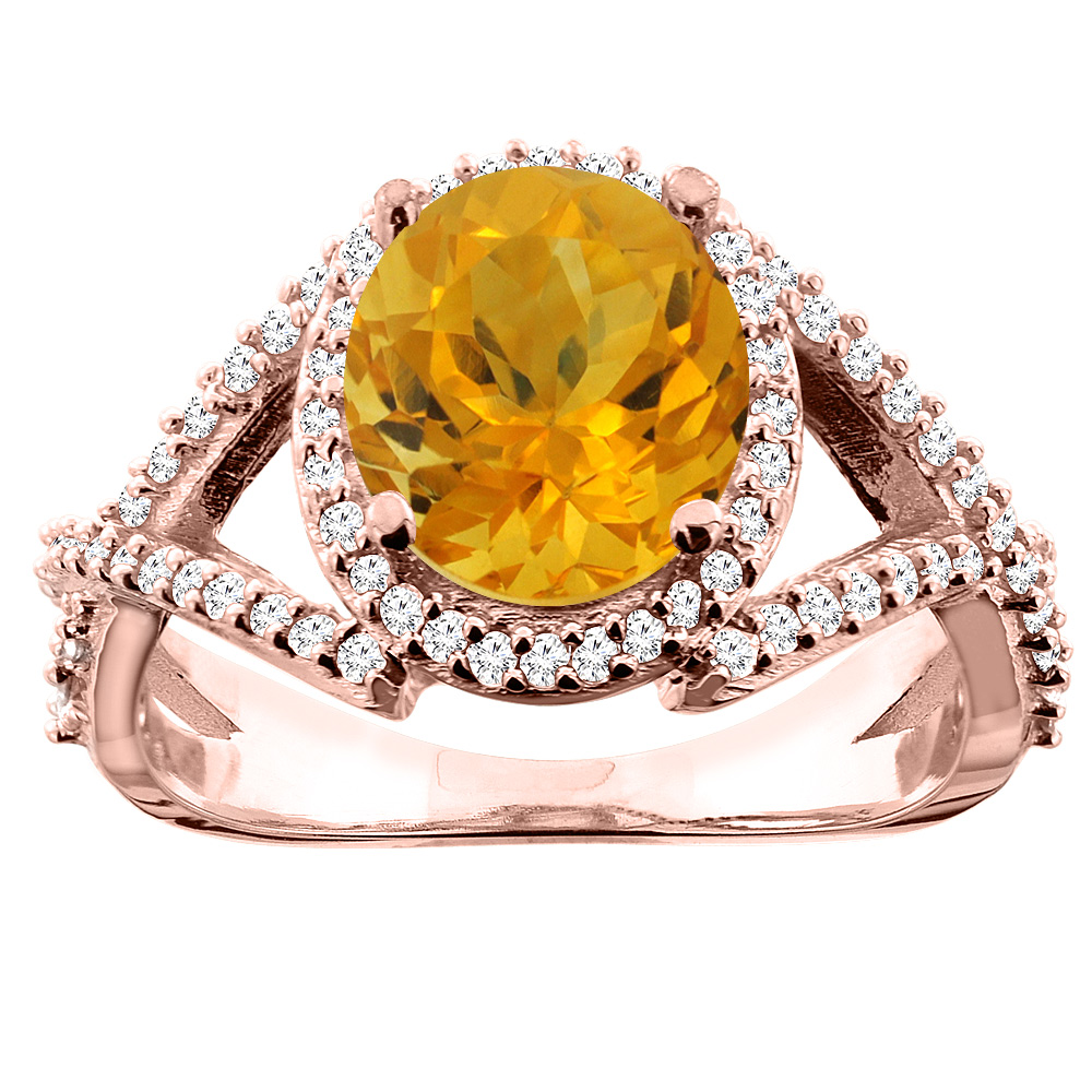 14K White/Yellow/Rose Gold Natural Citrine Ring Oval 9x7mm Diamond Accent, size 5
