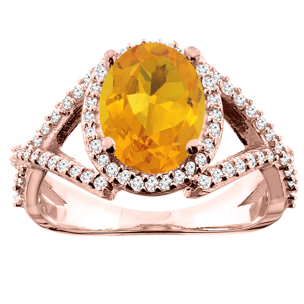 14K White/Yellow/Rose Gold Natural Citrine Ring Oval 10x8mm Diamond Accent, sizes 5 - 10