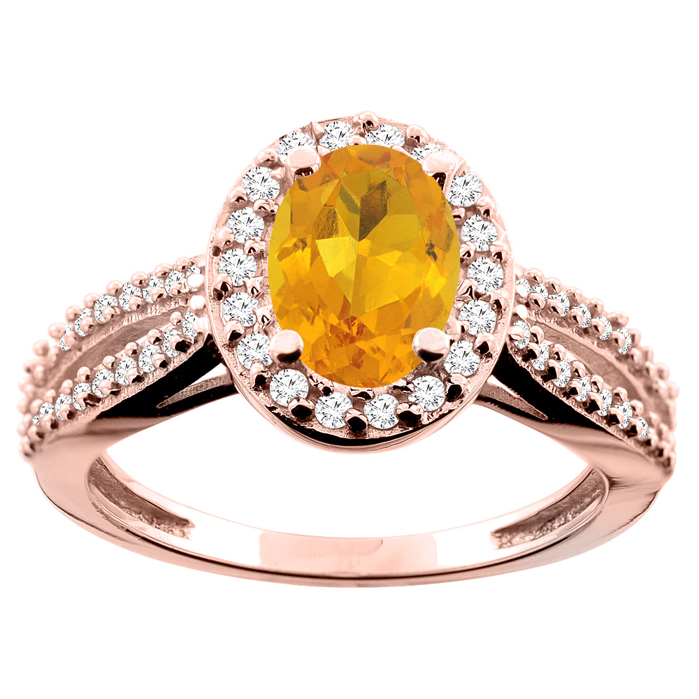 14K White/Yellow/Rose Gold Natural Citrine Ring Oval 8x6mm Diamond Accent, size 5