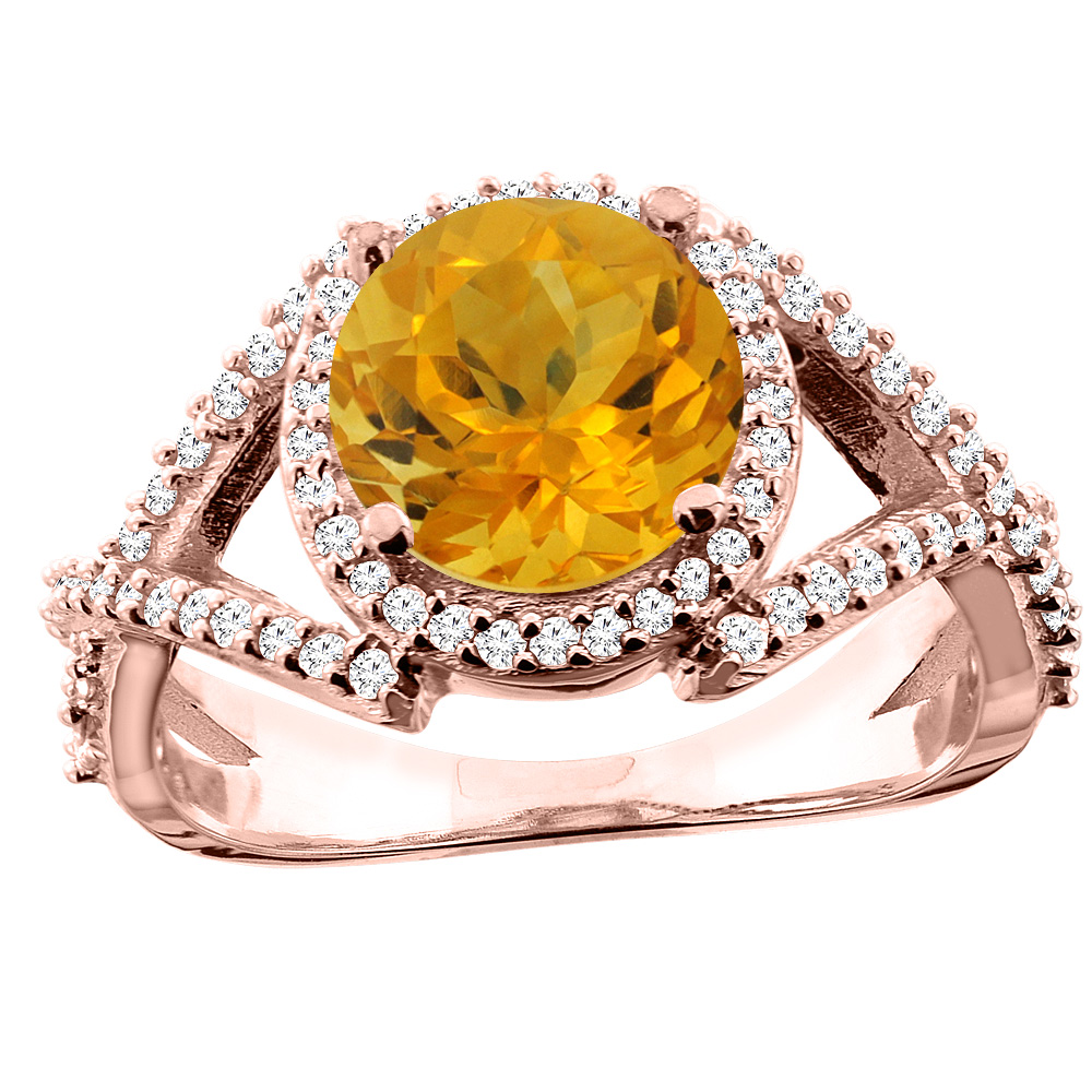 14K White/Yellow/Rose Gold Natural Citrine Ring Round 8mm Diamond Accent, size 5