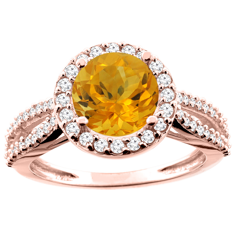 14K White/Yellow/Rose Gold Natural Citrine Ring Round 8mm Diamond Accent, sizes 5 - 10