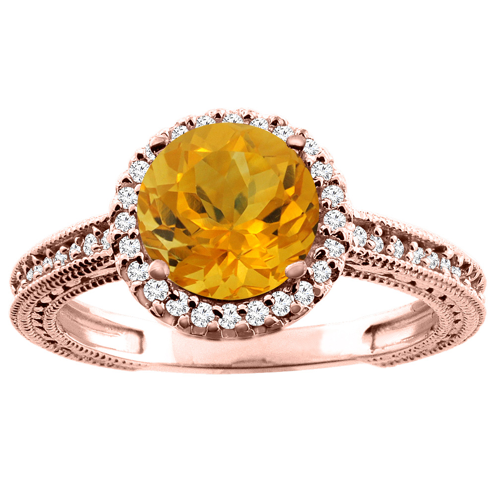 14K White/Yellow/Rose Gold Natural Citrine Ring Round 7mm Diamond Accent, sizes 5 - 10