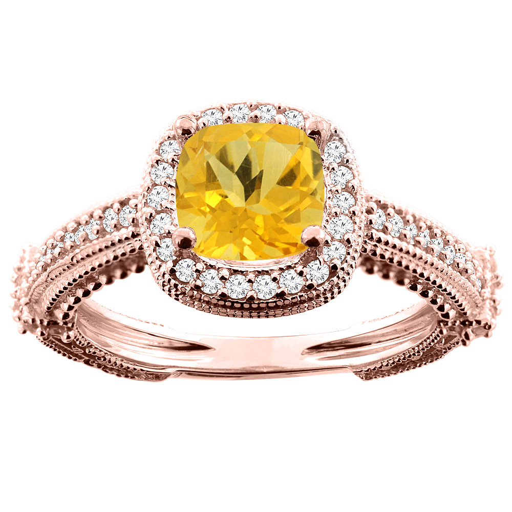 14K White/Yellow/Rose Gold Natural Citrine Ring Cushion 7x7mm Diamond Accent, sizes 5 - 10