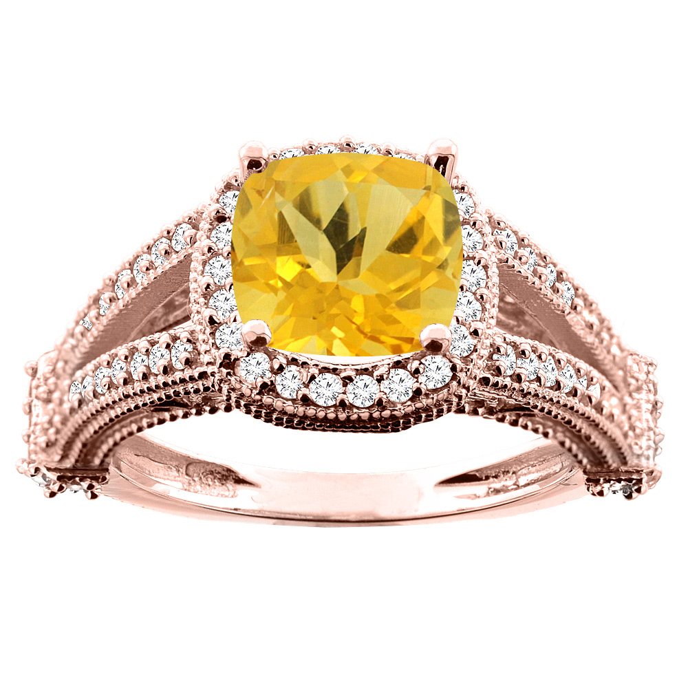 14K White/Yellow/Rose Gold Natural Citrine Split Shank Ring Cushion 7x7mm Diamond Accent, sizes 5 - 10